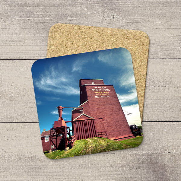 Coasters set of Big Valley grain elevator  by Edmonton based photographer, Larry Jang.