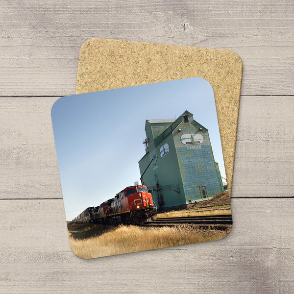Tabletop coasters featuring Bashaw Grain Elevator and a CN freight train by Canadian Prairies photographer, Larry Jang