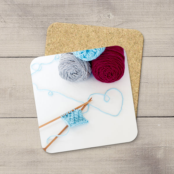 Craft Room Decor Ideas. Photo Coasters of Knitting needles & heart shaped yarn Modern functional art by Edmonton crafter & photographer Christina Jang.