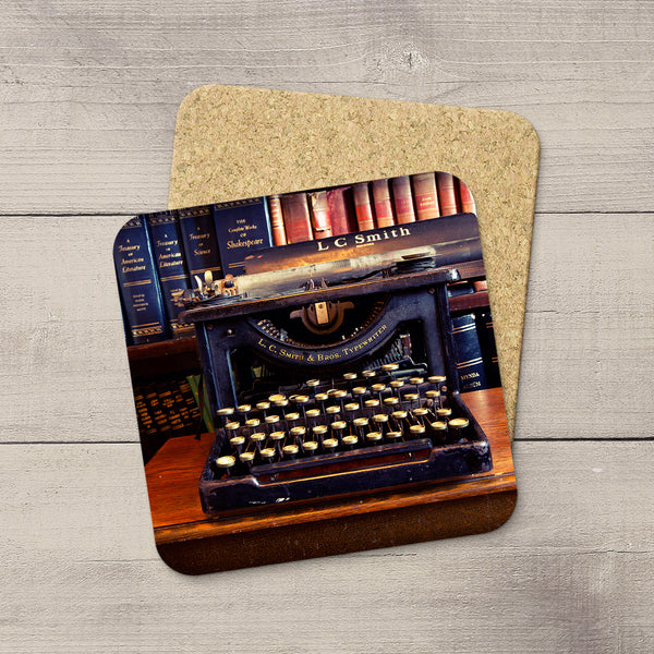 Library accessories. Photo Coasters of Vintage LC Smith Typewriter & book shelf. Modern functional table decor by Edmonton artist & photographer.