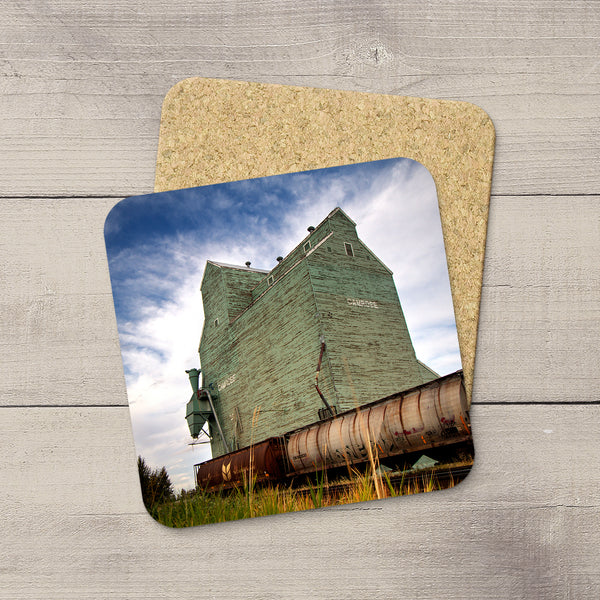 Camrose grain elevator printed on Photo Coasters  by Canadian Prairies photographer, Larry Jang