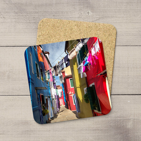 Photo of alleyways & clothes lines of Burano, Italy  printed on photo coasters by Larry Jang