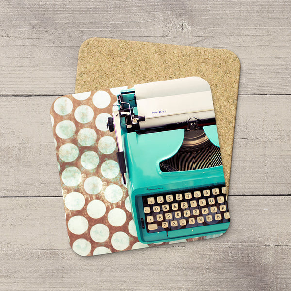 Table Accessories. Photo Coasters of Vintage Remington 1040 Typewriter writing a letter. Dear Life. Modern functional art by Edmonton artist & photographer Larry Jang.