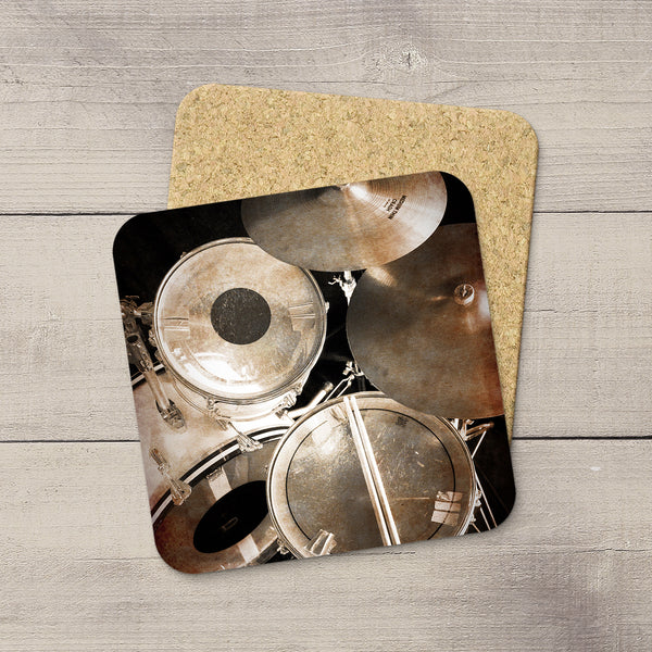 Music Room Accessories. Beverage Coasters of Vintage Rogers Drum Set & Zildjian Cymbals. For the drummer. Modern functional art by Edmonton artist & photographer Larry Jang.