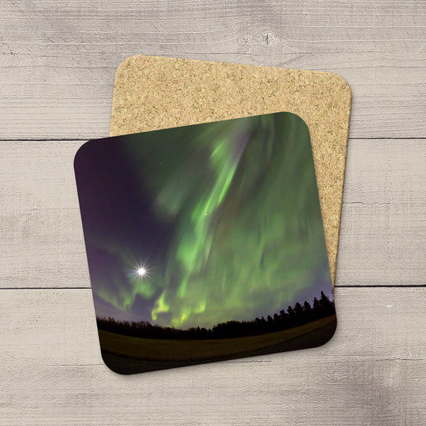 Photo Coasters of Northern Lights dancing in a moonlit sky. Souvenirs of Aurora Borealis by Canadian Photographer, Christina Jang.