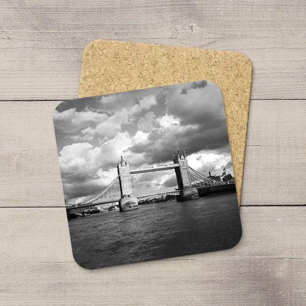 Photo coasters of Tower Bridge in London, England in black & white by Larry Jang.