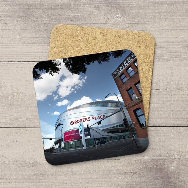 Table Accessories. Photo coasters featuring Rogers place & Mercer building. Handmade in YEG by acclaimed Alberta artist & Photographer Larry Jang.