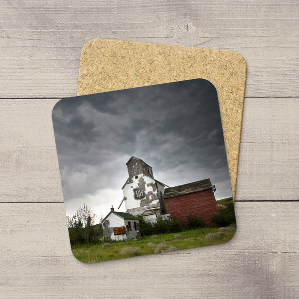 Sharples P&H Grain Elevator printed on photo coasters  by Canadian Badlands photographer, Larry Jang