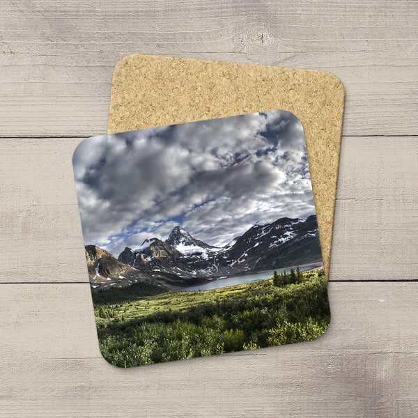 Photo Coasters of Mount Assiniboine in Canadian Rockies, Canada. Handmade in Edmonton, Alberta by Canadian photographer & artist Larry Jang.