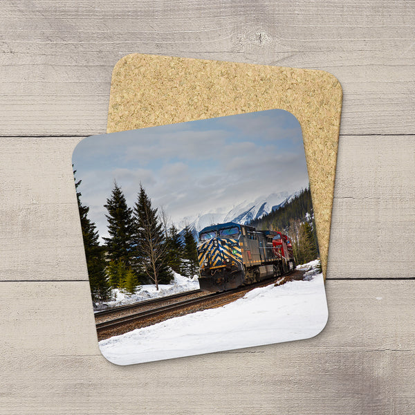 Photo Coasters of a CEFX Engine in Field, British Columbia in winter. Handmade in Edmonton, Alberta by Canadian photographer & artist Larry Jang.