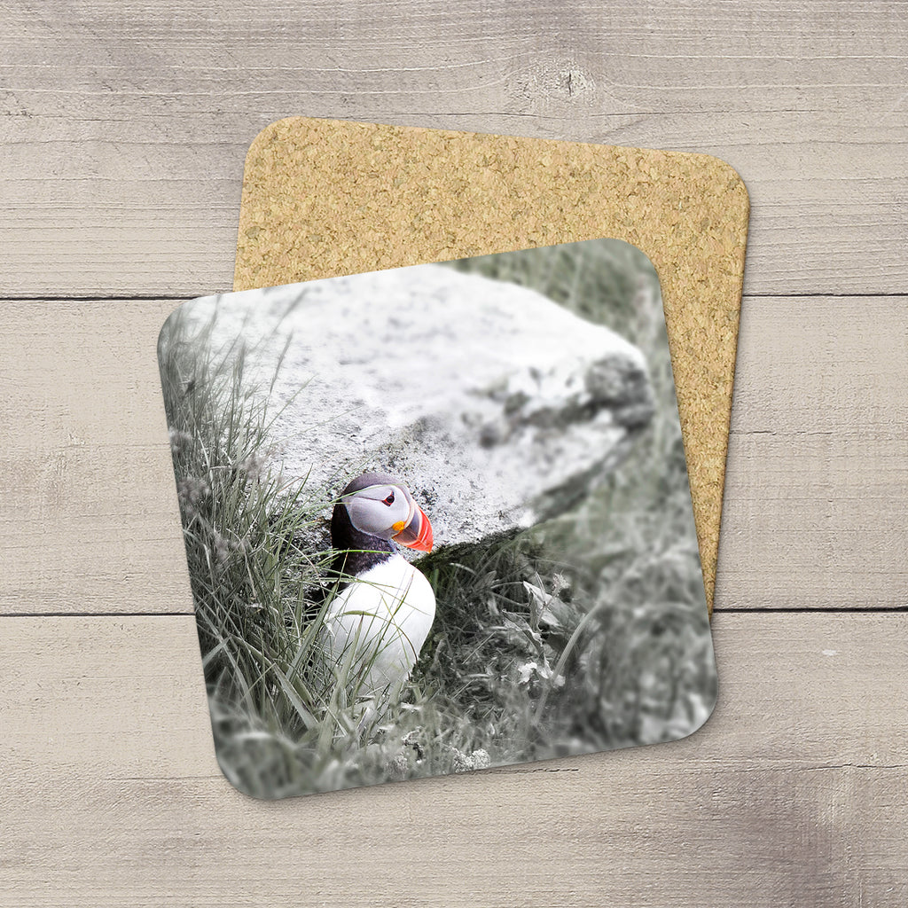 Cork coaster of a puffin bird by Larry Jang