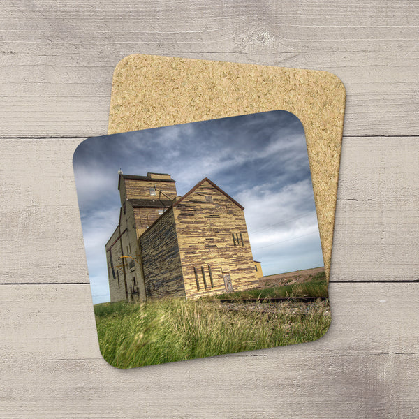 Skiff grain elevator printed on drink coasters  by Alberta Prairies photographer, Larry Jang