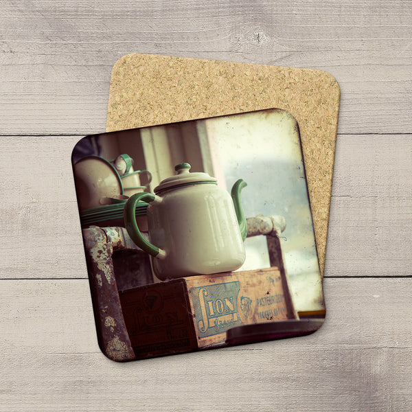 Kitchen Accessories. Photo Coasters of Vintage Tea Pot & Wooden Crate. Modern functional table decor by Edmonton artist & photographer.