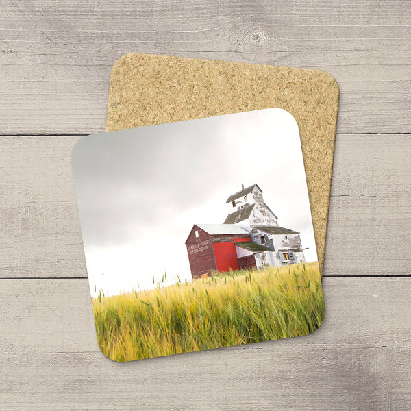 Photo of Pacific Grain Elevator in Raley Alberta hand printed on drink coasters  by Canadian Prairies photographer, Larry Jang