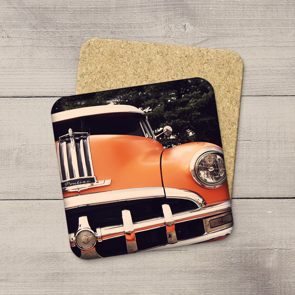 VIntage Orange Pontiac Car. Cork Coasters by acclaimed Canadian Photographer Larry Jang.