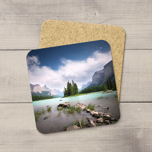 Beverage Coasters of Spirit Island on Maligne Lake in Jasper National Park, Canada.  Souvenirs of Canadian Rockies. Handmade in Edmonton, Alberta by Canadian photographer & artist Larry Jang.