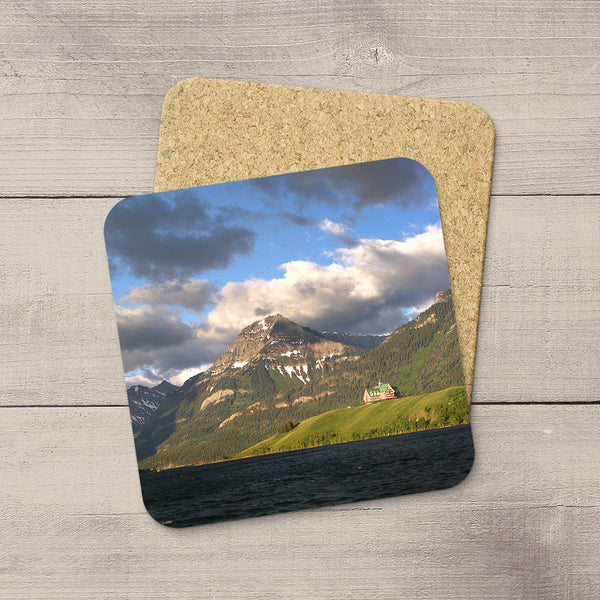 Beverage Coasters of Prince of Wales Hotel on the lake in Waterton National Park, Canada.  Souvenirs of Canadian Rockies. Handmade in Edmonton, Alberta by Canadian photographer & artist Larry Jang.