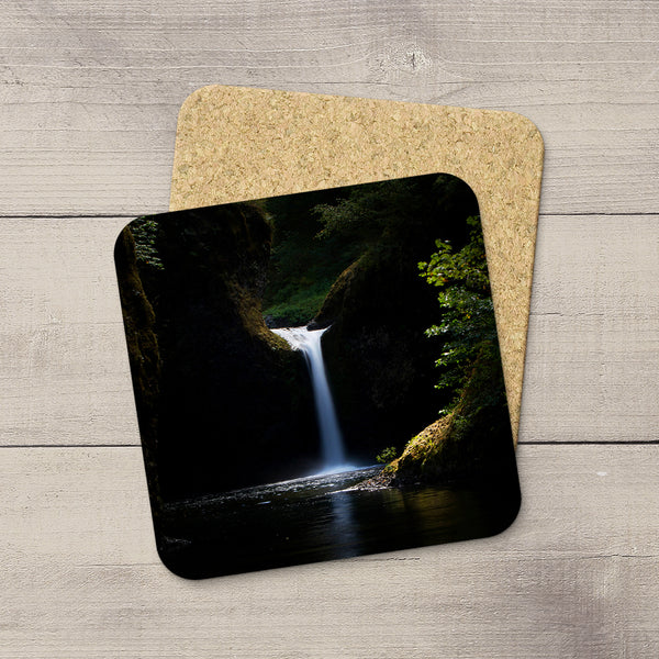 Photo Coasters of Punchbowl Falls in Eagle Creek, Columbia River Gorge, Oregon. Souvenirs & travel themed home accessories. Handmade in Edmonton, Alberta by Canadian photographer & artist Larry Jang.