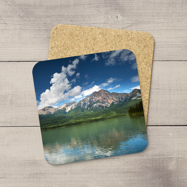Beverage Coasters of Pyramid Mountain & Lake in Jasper National Park, Canada.  Souvenirs of Canadian Rockies. Handmade in Edmonton, Alberta by Canadian photographer & artist Larry Jang.