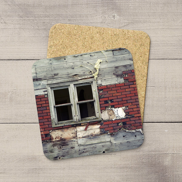 Drink Coasters featuring photo of ramshackle window in Saskatchewan. Home accessories by Edmonton based photographer & artist, Larry Jang