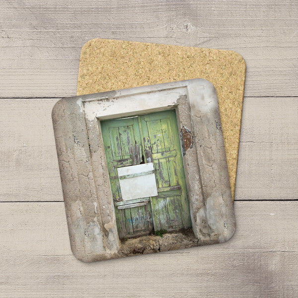 Drink Coasters of a wooden Green door in Fira Santorini Greece by Travel photographer Larry Jang.