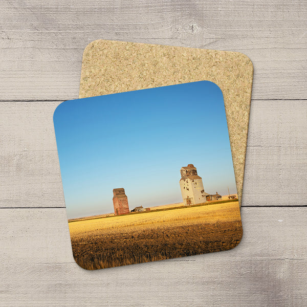 Cork coasters of Dankin grain elevators in Saskatchewn by Canadian Prairies photographer & artist Larry Jang.
