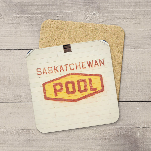 Photo coasters featuring the iconic Saskatchewan Wheat Pool logo taken from the side of a grain elevator, Home accessories by Edmonton based photographer & artist, Larry Jang