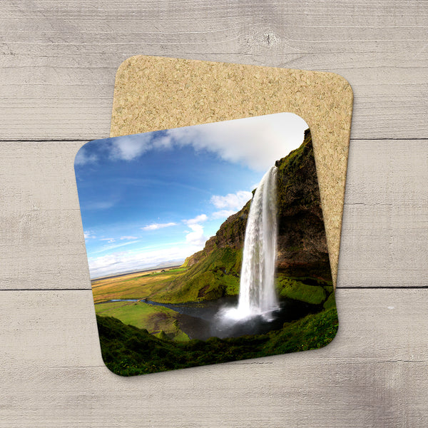 Photo Coasters of Seljalandsfoss waterfall in Southern Iceland. Souvenirs & travel themed home accessories. Handmade in Edmonton, Alberta by Canadian photographer & artist Larry Jang.