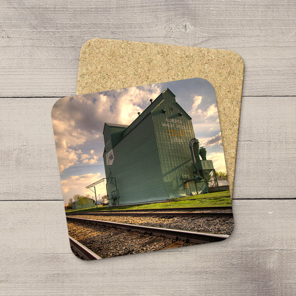 Leduc grain elevator picture hand printed on Photo Coasters by Laarry Jang.
