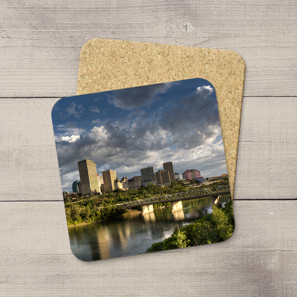 Tabletop Decor. Photo Coasters of Edmonton City Skyline in summer. Handmade in YEG by acclaimed Alberta artist & Photographer Larry Jang.
