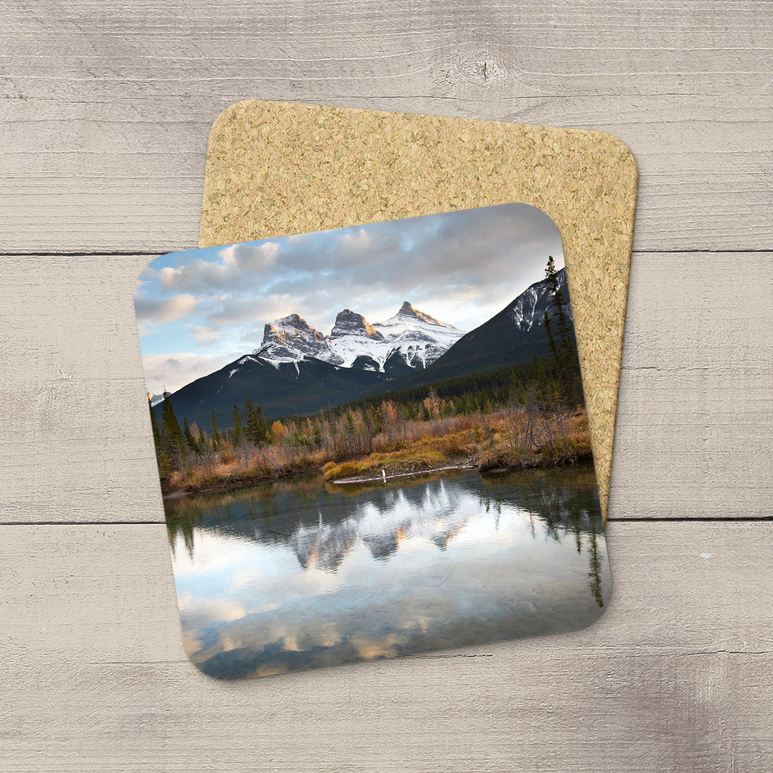 Photo Coaster of Three Sisters Mountain in Canmore in Canadian Rockies. Handmade in Edmonton, Alberta by Canadian photographer & artist Larry Jang.