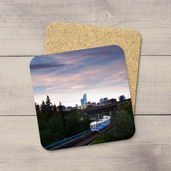 Edmonton LRT, Dudley Menzies & High Level Bridge and Edmonton skyline picture printed on drink coasters. Handmade in YEG by acclaimed Alberta artist & Photographer Larry Jang.