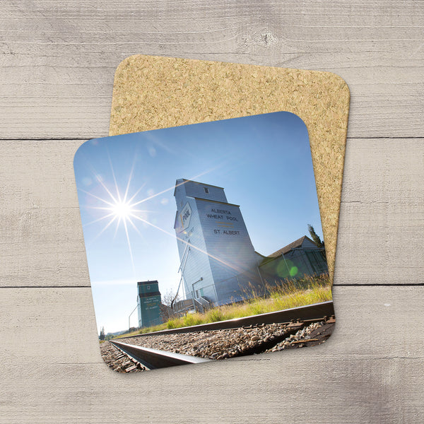 Photo coasters of St. Albert grain elevators on train tracks Home accessories by Edmonton based photographer & artist, Larry Jang