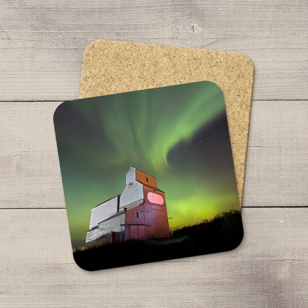 Photo Coasters of Northern Lights streaking over Legal Grain Elevator in Alberta Prairies. Souvenirs of Aurora Borealis by Canadian Photographer, Larry Jang.
