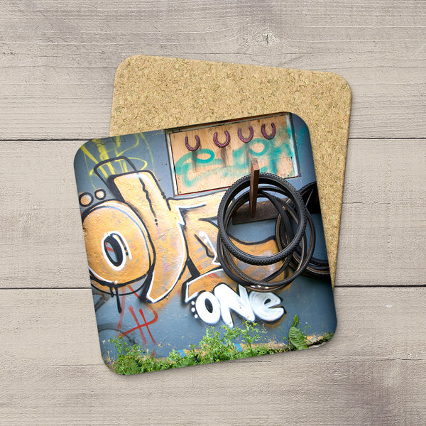 Photo Coasters. Picture of graffiti & bike tires from Reykjavik, Iceland by Larry Jang.