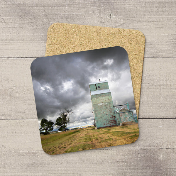 Drink coasters of Magrath grain elevator bracing for incoming summer storm by Edmonton based photographer, Larry Jang