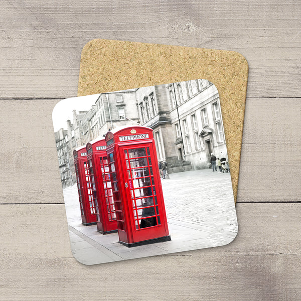 Picture of a trio of red phone booths in Edinburgh printed onto a photo coaster by Larry Jang.