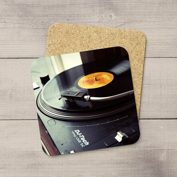 Music Room Accessories. Photo Coasters of a Sony turntable playing a record album. Vinyl love. Modern functional art by Edmonton artist & photographer Larry Jang.