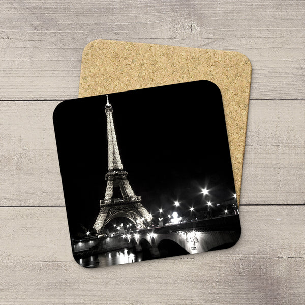 Photo coaster of Eiffel Tower in Paris twinkling in black & white by Larry Jang.