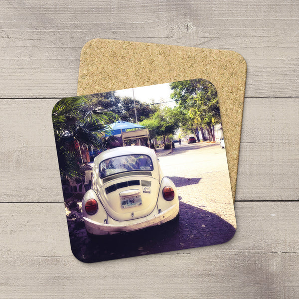 Picture of VW Beetle in Mexico. Photo Coasters hand printed by acclaimed Canadian Photographer Larry Jang.