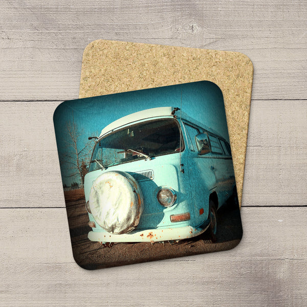 Photo of a rusty old VW Van. Jalopy hand printed drink costers by acclaimed Canadian Photographer Larry Jang.