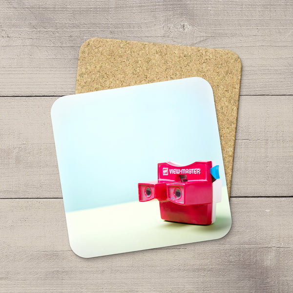 Accessories for Photography Studio or Man Cave. Photo Coasters featuring a Vintage Red Viewmaster by Larry Jang, an Edmonton based artist & photographer.