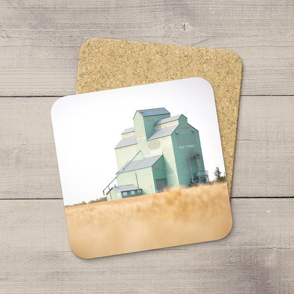 Photo Coasters of Elk Point grain elevator by Canadian Prairies photographer, Larry Jang.