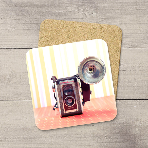 Decor for Photography Studio or Man Cave. Photo Coasters featuring a Vintage Kodak Duoflex Camera & Flash by Larry Jang, an Edmonton based artist & photographer.