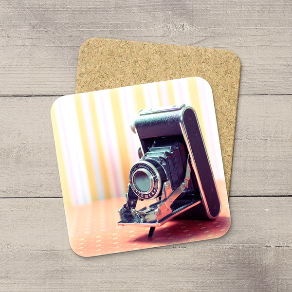 Decor for Photography Studio or Man Cave. Photo Coasters featuring a Vintage Sears Tower Camera by Larry Jang, an Edmonton based artist & photographer.