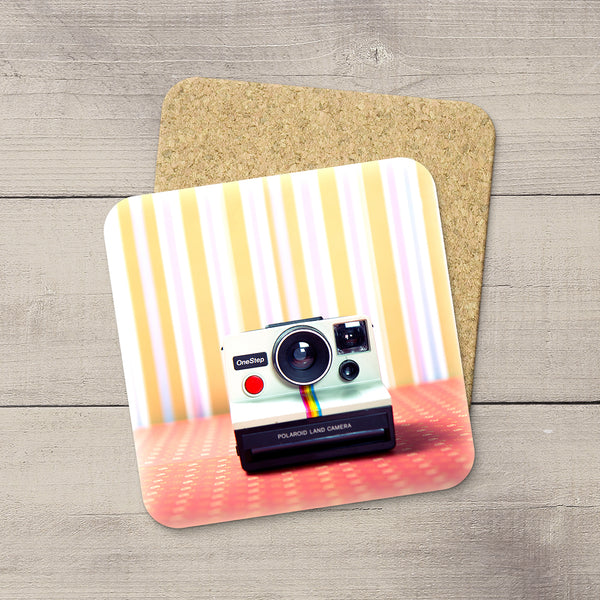 Decor for Photography Studio or Man Cave. Photo Coasters featuring a Vintage 80s Polaroid Camera by Larry Jang, an Edmonton based artist & photographer.