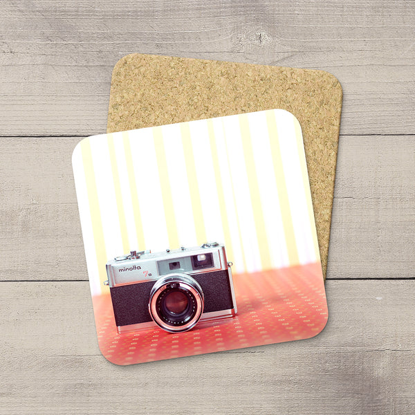 Decor for Photography Studio or Man Cave. Photo Coasters featuring a Vintage Minolta 1970s Film Camera by Larry Jang, an Edmonton based artist & photographer.