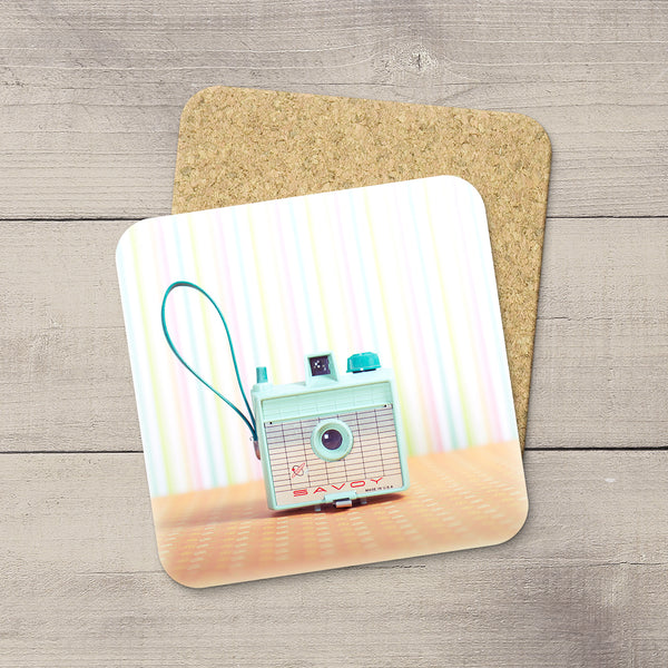 Decor for Photography Studio or Man Cave. Photo Coasters featuring a teal colored Vintage Imperial Savoy box camera by Larry Jang, an Edmonton based artist & photographer.
