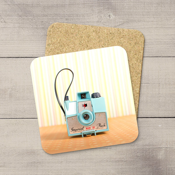 Decor for Photography Studio or Man Cave. Photo Coasters featuring a Vintage Imperial Mark 8 Box Camera by Larry Jang, an Edmonton based artist & photographer.