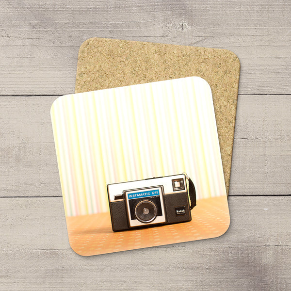 Decor for Photography Studio or Man Cave. Photo Coasters featuring a Vintage Kodak 1970s Instamatic Box Camera by Larry Jang, an Edmonton based artist & photographer.